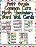 First Grade Common Core Math Vocabulary Word Wall Cards
