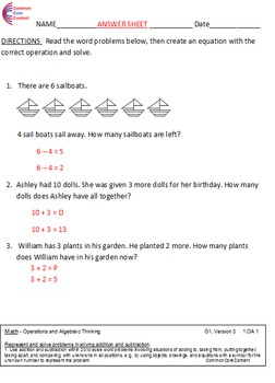 1.OA.1 Word Problems First Grade Common Core Math Worksheets 1.OA.A.1