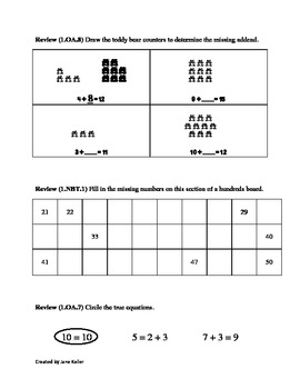 First Grade Common Core Math Worksheets 1.OA.1 Word Problems