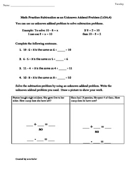First Grade Common Core Math Worksheets 1.OA.4 Subtraction as Unknown Addend