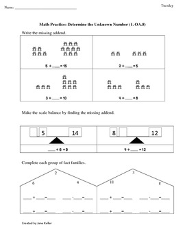 First Grade Common Core Math Worksheets 1.OA.8 Determine the Unknown Number