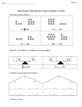 First Grade Common Core Math Worksheets 1.OA.8 Determine t