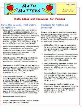 First Grade Common Core Mathematics Newsletters