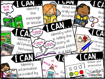 """First Grade Objectives - """"I can"""" posters Common Core"""