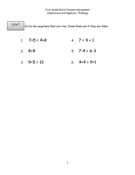 First Grade Common Core Operations and Algebraic Thinking Assessment