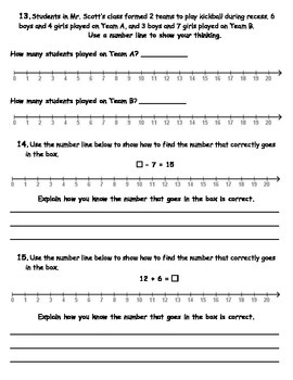 Operations and Algebraic Thinking Practice First Grade Common Core