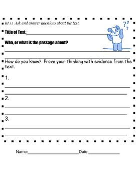 First Grade Common Core RI text Graphic Organizers