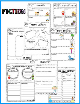 First Grade Common Core Reading Graphic Organizers