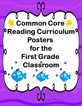 First Grade Common Core Reading Posters in Purple and Yellow