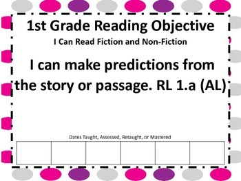 First Grade Common Core  Reading Standards Poster and Checklist