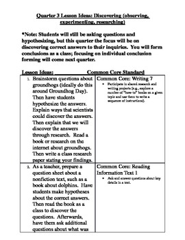 First Grade Common Core Science Lessons and Experiments (Quarter 3)