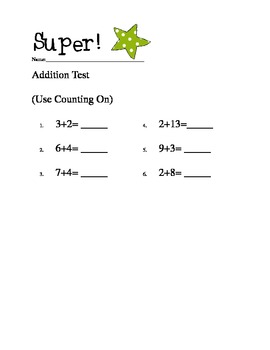 First Grade Common Core Simple Addition Test
