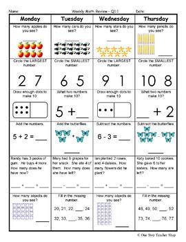1st Grade Math Spiral Revie... by One Stop Teacher Shop | Teachers ...