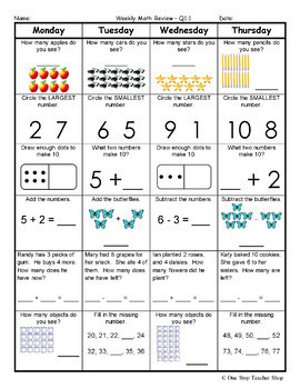 Grade Math Spiral Review | 1st Grade Math Homework 1st Grade ...