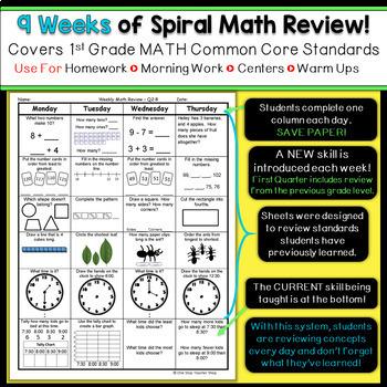 1st Grade Math Spiral Review | 1st Grade Math Homework 1st Grade Morning Work