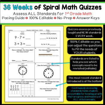 1st Grade Math Spiral Review | 1st Grade Math Homework | 1st Grade Morning Work