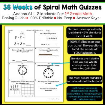 1st Grade Math Spiral Review & Quizzes | 1st Grade Math Homework | ENTIRE YEAR