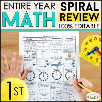 1st Grade Math Spiral Review | Distance Learning Packet 1st Grade Math Homework