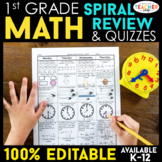 1st Grade Math Spiral Review Distance Learning Packet | 1s