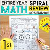 1st Grade Math Spiral Review & Quizzes | Homework or Morning Work