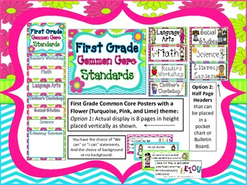 First Grade Common Core Standard Posters:  FLOWERS (Turquoise, Pink, and Lime)