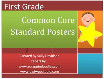 First Grade Common Core Standard Posters - Kid Friendly! - 68 Pages!
