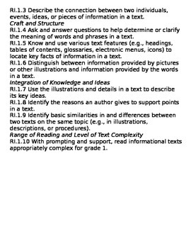 First Grade Common Core Standards