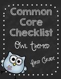 First Grade Common Core Standards Checklist-Owls!