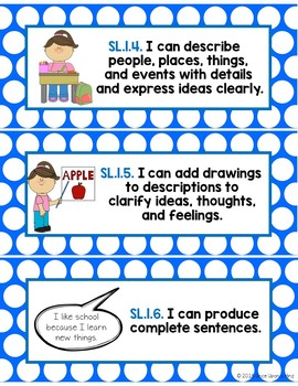 First Grade Common Core Standards ELA Focus Wall