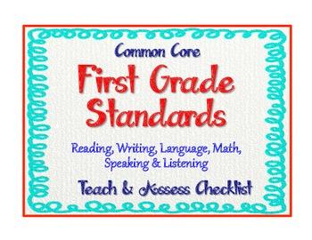"""1st Grade Common Core Standards - ELA & Math """"Teach & Asse"""