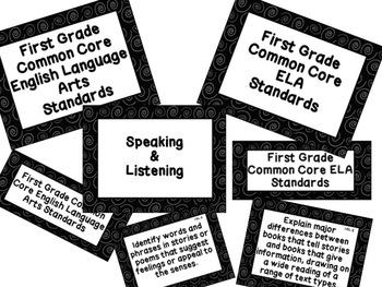 First Grade Common Core Standards ELA Posters: Black & White Spirals