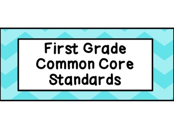 First Grade Common Core Standards ELA Posters: Blue Chevrons