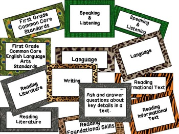 First Grade Common Core Standards ELA Posters: Jungle Theme