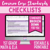 Common Core Checklist - First Grade