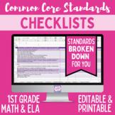 Common Core Checklist - First Grade ELA & Math Bundle