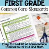 First Grade Common Core Standards List