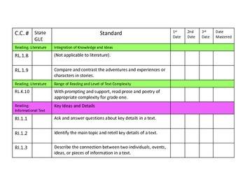 First Grade Common Core Standards Organizer