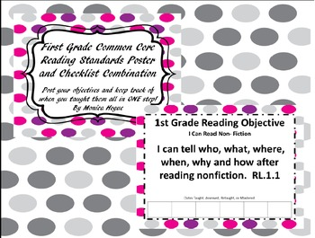 First Grade Common Core  Standards Poster and Checklist Combination Bundle