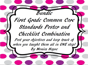 First Grade Common Core  Standards Poster and Checklist Co