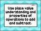 First Grade Math Common Core Standards Posters-Blue Chevrons
