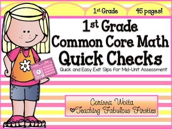 First Grade Common Core State Standard Math Quick Check Pack