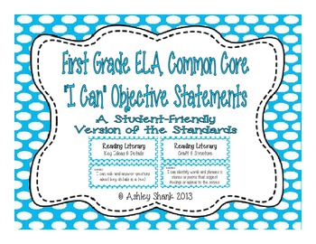 First Grade Common Core Student-Friendly ELA Standards - B