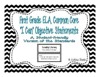 First Grade Common Core Student-Friendly ELA Standards - Black Chevron