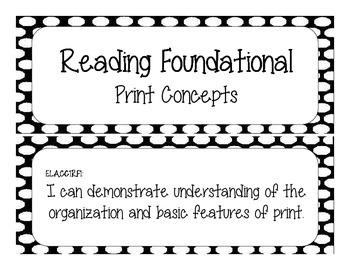 First Grade Common Core Student-Friendly ELA Standards - Black Polka Dot