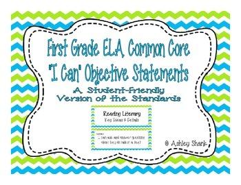 First Grade Common Core Student-Friendly ELA Standards - Blue & Green Chevron