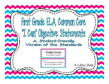 First Grade Common Core Student-Friendly ELA Standards - Blue & Pink Chevron