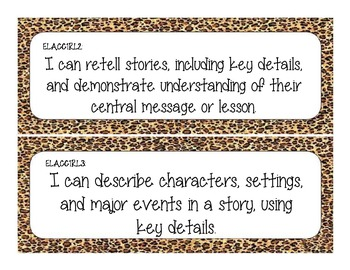 First Grade Common Core Student-Friendly ELA Standards - Cheetah Print