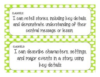 First Grade Common Core Student-Friendly ELA Standards - Green Polka Dot