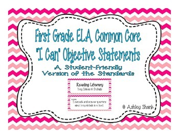 First Grade Common Core Student-Friendly ELA Standards - Pink Chevron