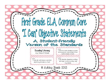 First Grade Common Core Student-Friendly ELA Standards - Pink Polka Dot